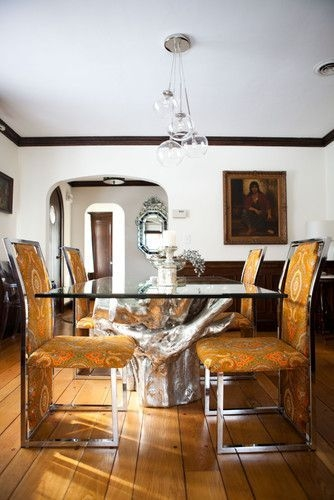 Sequoia Dining Table Z Gallerie Cluster Glass Pendant Light West Elm  Eclectic Dining Room