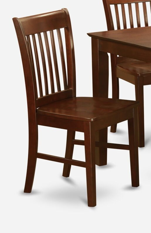 Set Of 4 Norfolk Dinette Kitchen Dining Chairs W Plain Wood Seat In Mahogany  Ebay