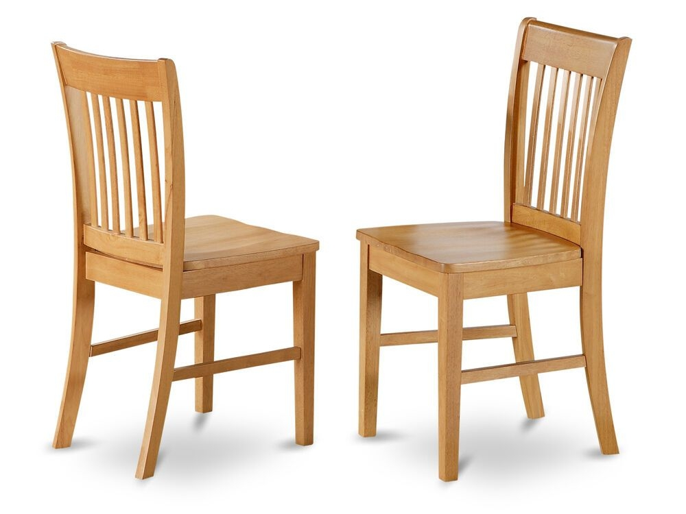 Set Of 4 Norfolk Dinette Kitchen Dining Chairs With Wood Seat In Light Oak  Ebay