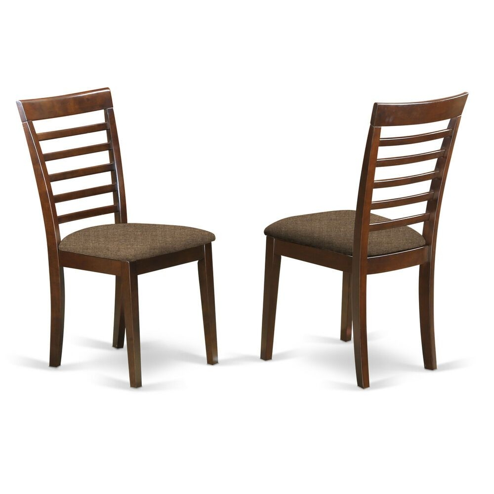 Set Of 6 Milan Dinette Kitchen Dining Chairs W Microfiber Padded Seat Mahogany  Ebay