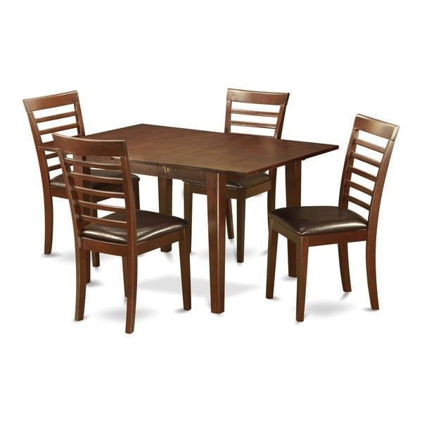 Shop Psml5 Mohagany Finish Rubberwood Kitchen Nook Dining Set With 5 Chairs  Free Shipping