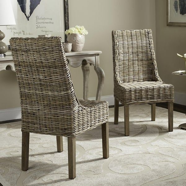 Shop Safavieh Dining Rural Woven Suncoast Unfinished Natural Wicker Arm Chairs Set Of 2  On