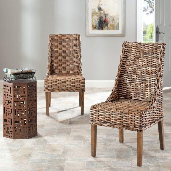 Shop Safavieh Rural Woven Dining St Thomas Indoor Wicker Brown Sloping Arm Chairs Set Of 2