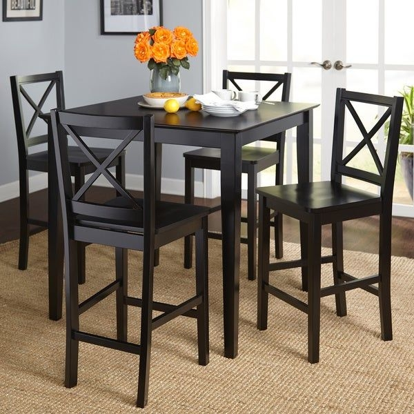 Shop Simple Living Cross Back Counter Height 5Piece Table And Chair Set  On Sale  Free