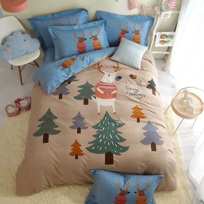 Single Cartoon Children Adult Bedding Set Twin Queen King Size Brushed Cotton Printed Dorm