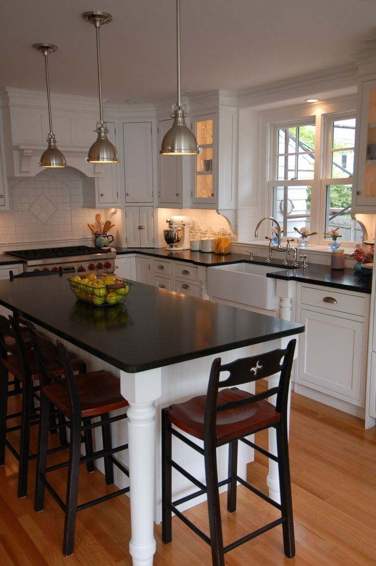 Sink And Stove Location  With Island And Lamps  Perfect  Kitchen Design Small