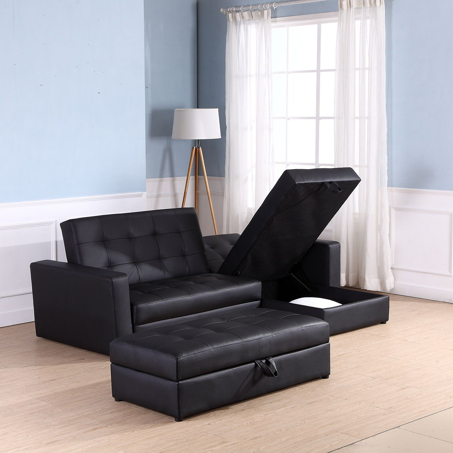 Sofa Bed Storage Sleeper Chaise Loveseat Couch Sectional Living Room Furniture  Ebay