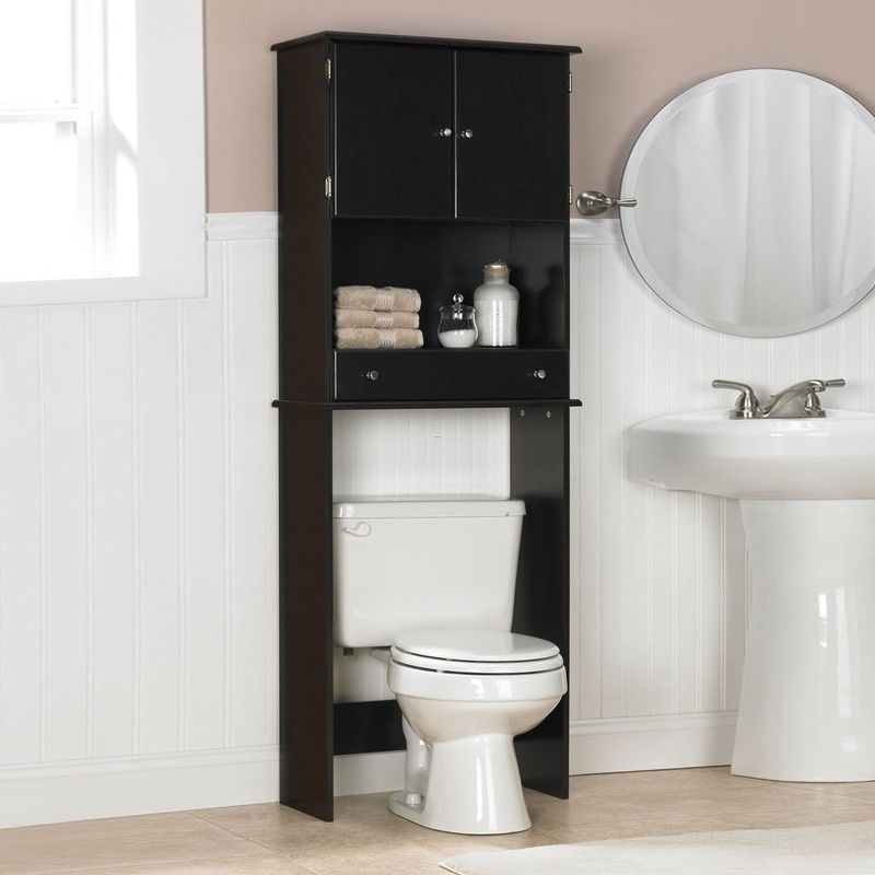 Tall Black Wooden Bathroom Cabinet On Over White Toilet Bowl Near White Washstand On Ceramics
