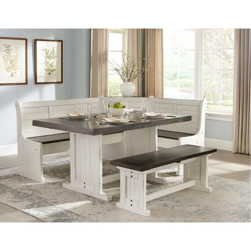 Twotone French Country 4 Piece Corner Dining Nook  Bourbon County Collection  Rc Willey