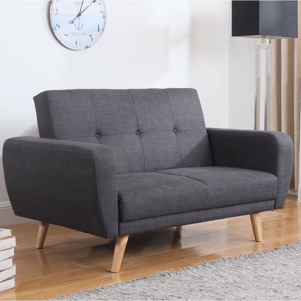 Vintage Sofa Bed Furniture Living Room Retro Fabric Couch 2 Seater Wooden Legs  Ebay