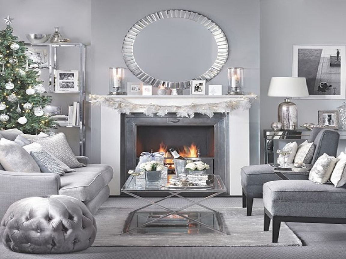 White And Silver Christmas Decorations Modern Gray Living Room Grey Silver Living Room Living