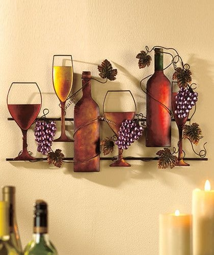 Wine Grapes Metal Wall Hanging Vineyard Kitchen Home Decor  Ebay  Wine Wall Decor Wine Theme