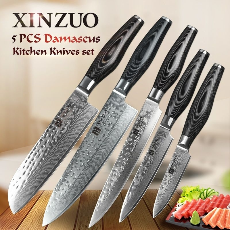Xinzuo 5Pcs Kitchen Knives Set Damascus Japanese Vg10 Super Steel Best Quality Cleaver Chef