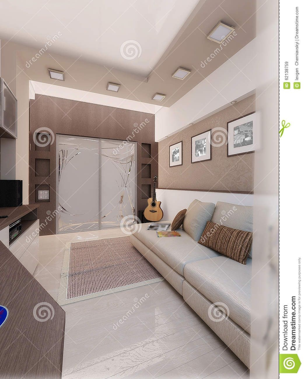 Young Man Bedroom Interior Design Render 3D Stock Image  Image Of Fixture Render 62138759