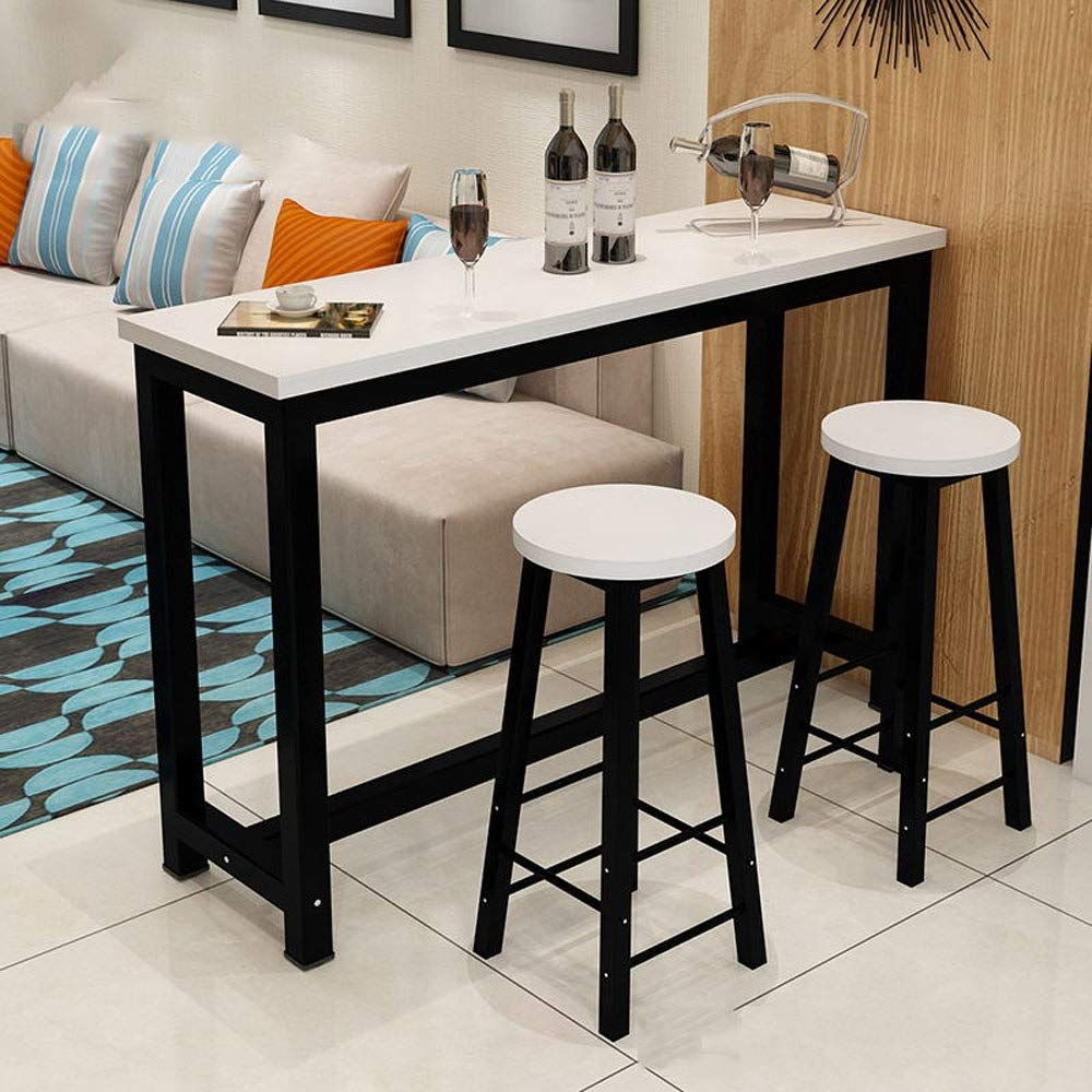 3 Piece Pub Table Set Counter Height Dining Table Set With 2 Bar Stools For Kitchen Nook