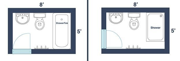 7 Awesome Layouts That Will Make Your Small Bathroom More Usable  Bathroom Floor Plans Small