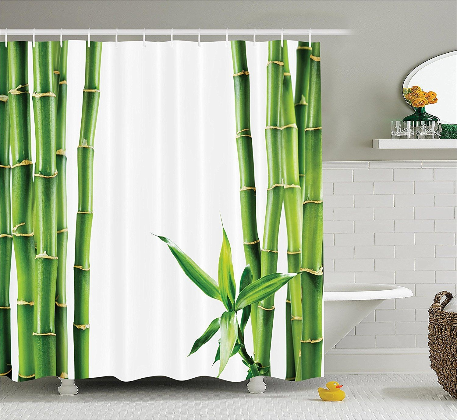 Asian Shower Curtain Decor Bamboo Board Stalk Tropics Plants Greenery Natural Lush Polyester