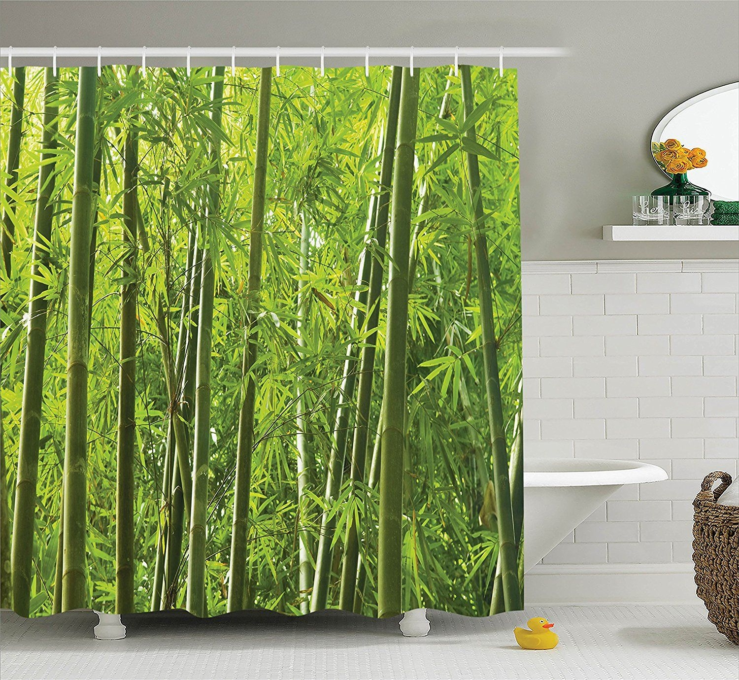 Bamboo Decor Shower Curtain Set Exotic Tropical Bamboo Forest With Fresh Color Asian Nature