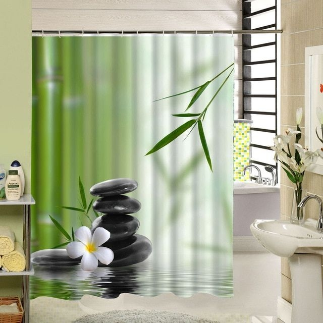 Bamboo Shower Curtain Stone Flower Green Zen Bathroom Decor 3D Design Fabric Printing Accessory