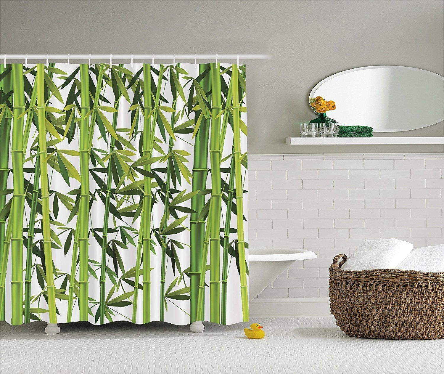 Bamboo Trees Green Nature Art Prints Wildlife High Resolution Bath Home Textile Design Spa