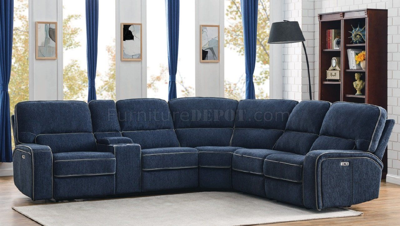 Dundee Power Sectional Sofa 603370Pp In Navy Bluecoaster