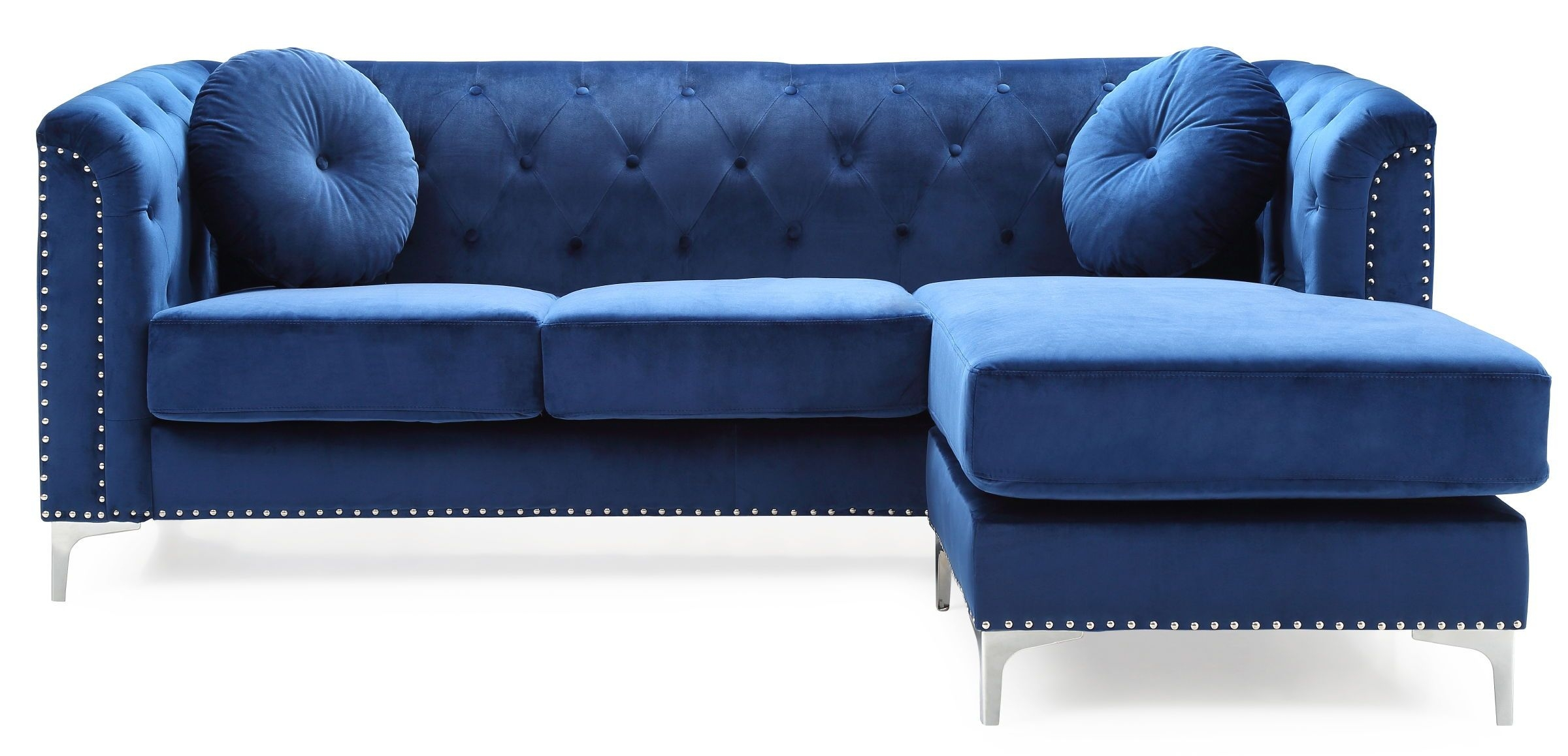 Glory Furniture Pompano Contemporary Navy Blue Sofa Chaise  The Classy Home