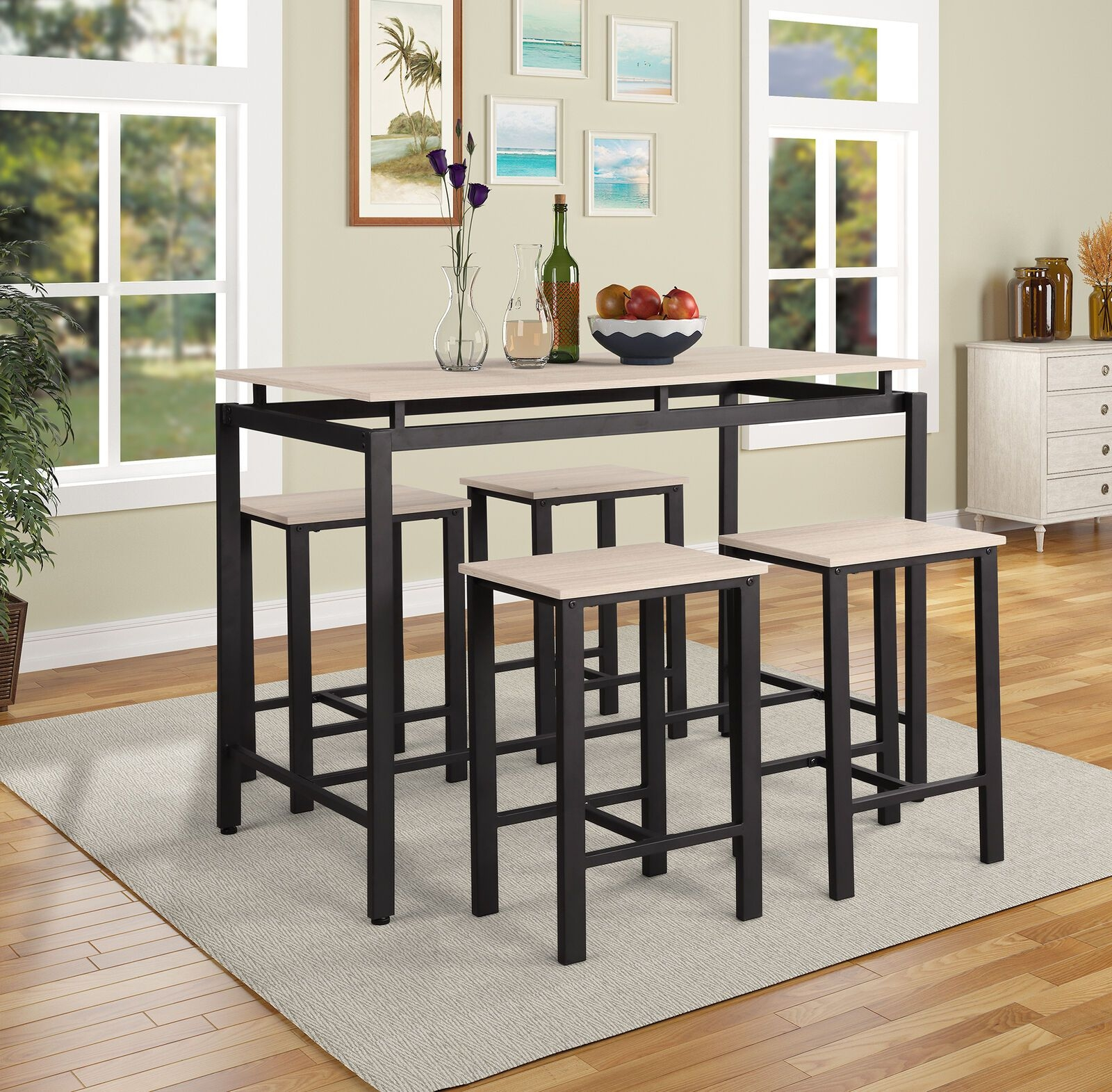 New 5 Pcs Counter Height Table Set Kitchen  Bar Cd002  Uncle Wiener'S Wholesale