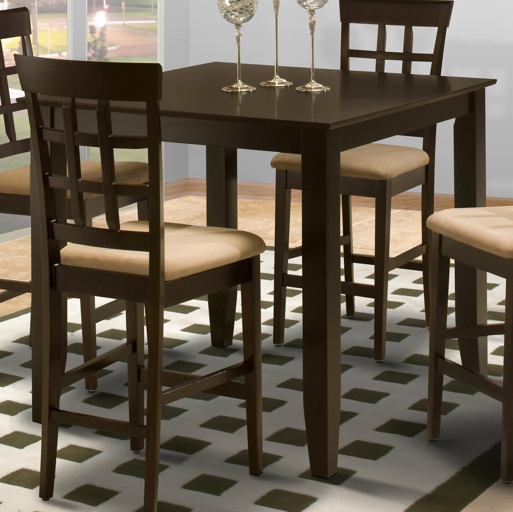New Classic Style 19 Square Counter Height Kitchen Table  Rife'S Home Furniture  Pub Tables