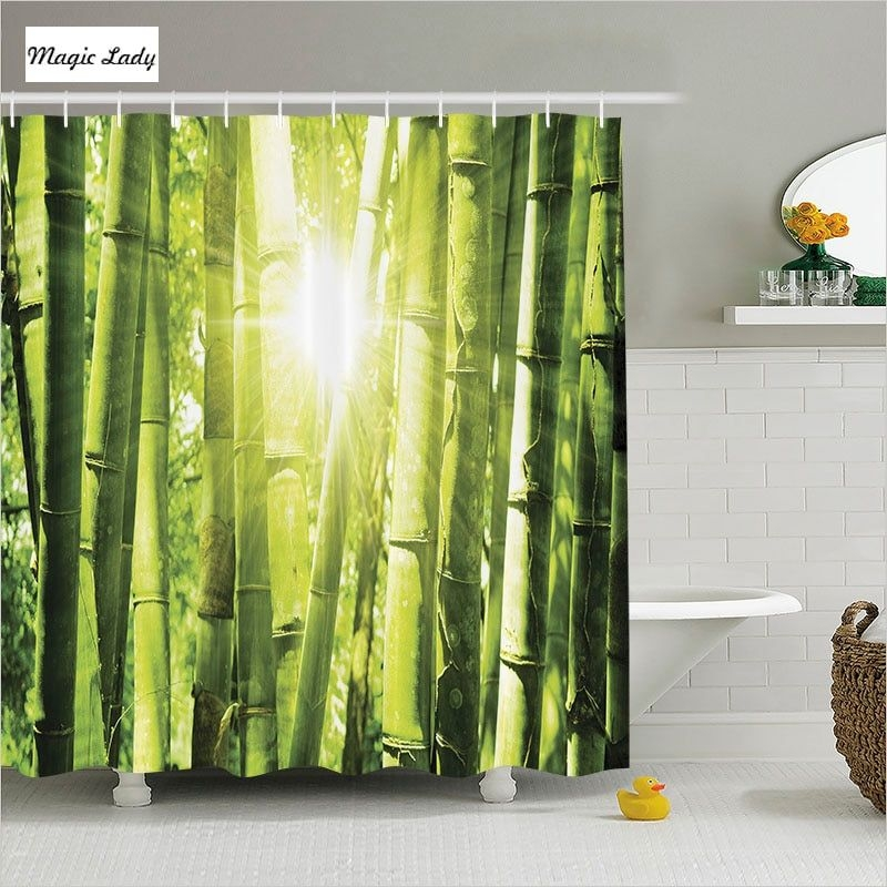 Shower Curtain Bamboo Bathroom Accessories Asian Decor Forest Morning Sunlight Trees Jungle