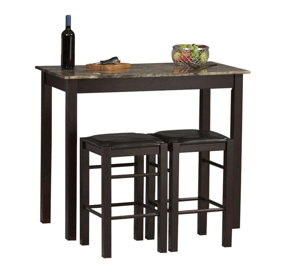 Small Kitchen Table With Stools Tall Set For 2 High Breakfast Pub Nook Bar Space  Ebay